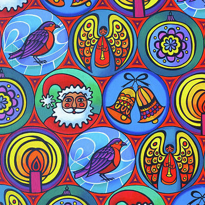 Christmas Painting - Christmas In Circles by Jane Tattersfield
