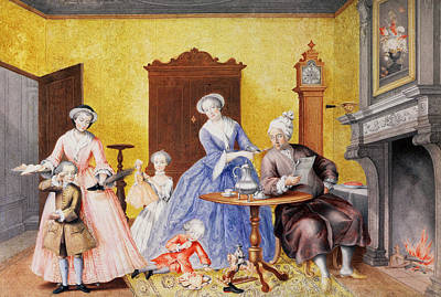 Christmas In The Royal Household Of Empress Maria Theresa Of Austria With Family Print by Maria Christine