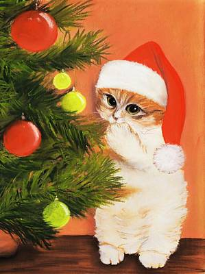 Cards Painting - Christmas Kitty by Anastasiya Malakhova