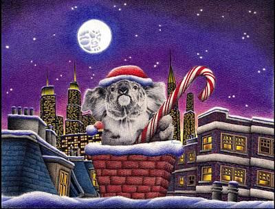 Christmas Koala In Chimney Print by Remrov