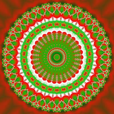 Mandela Digital Art - Christmas Mandala Fractal 001 by Ruth Moratz