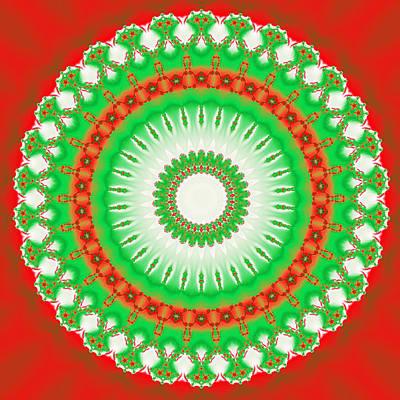 Red Digital Art - Christmas Mandala Fractal 002 by Ruth Moratz