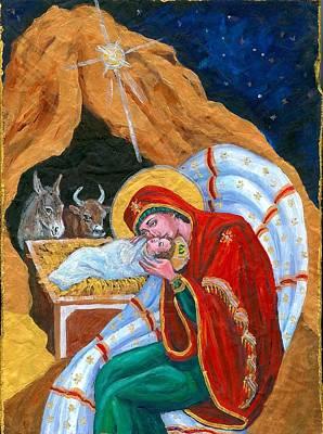 Greek Icon Painting - Christmas Nativity by Melanie Petridis