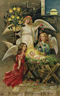 Baby Angel Drawing - Christmas Nativity Scene by English School