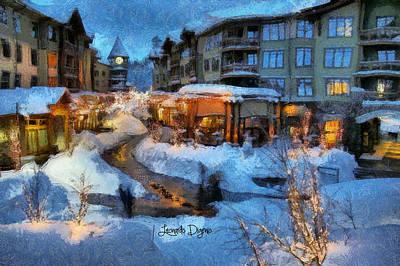 Buildings Painting - The Christmas Night by Leonardo Digenio