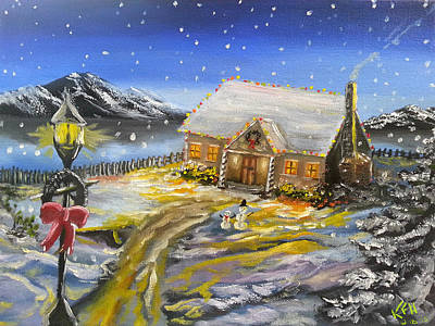 Lightpost Painting - Christmas On The Bay by Kevin F Heuman