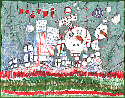 Carrot Drawing - Christmas On The Edge by Sandra Church