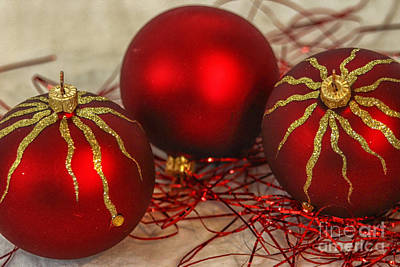 Christmas Ornaments Print by Patricia Hofmeester