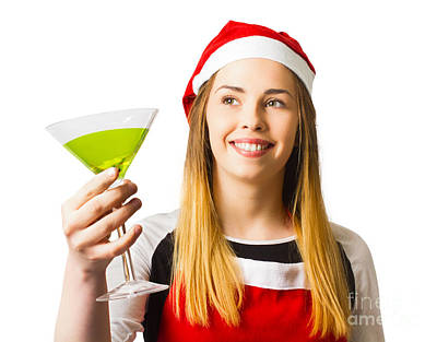 Cheers Photograph - Christmas Party Girl In A Holiday Celebration  by Jorgo Photography - Wall Art Gallery