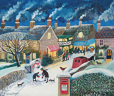 Rooftops Painting - Christmas Post by Lisa Graa Jensen