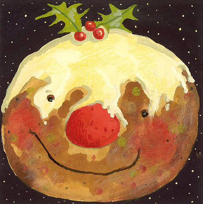 Winter Fun Painting - Christmas Pudding  by David Cooke