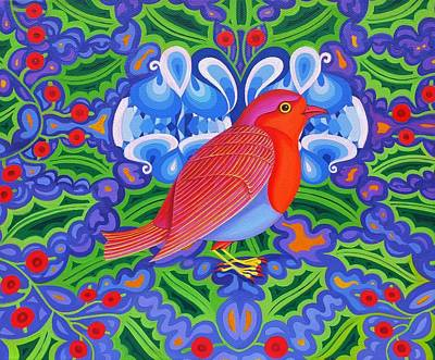 Robin Painting - Christmas Robin by Jane Tattersfield