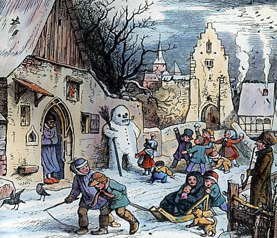 Village Scene Drawing - Christmas Scene by German School