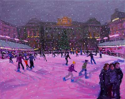 Skating Painting - Christmas Skating Somerset House With Pink Lights by Andrew Macara