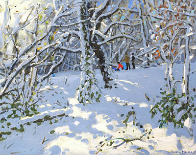 Snowy Trees Painting - Christmas Sledging In Allestree Woods by Andrew Macara