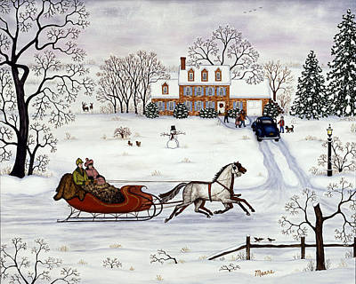 Horses Painting - Christmas Sleigh Ride by Linda Mears