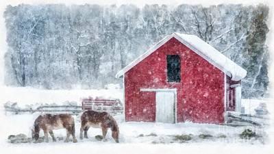 Livestock Digital Art - Christmas Snowstorm Vermont Watercolor by Edward Fielding