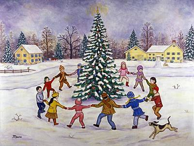 Children Painting - Christmas Tree And Children by Linda Mears