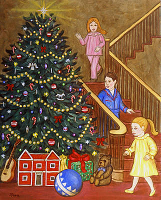 Sisters Painting - Christmas Tree And Presents by Linda Mears