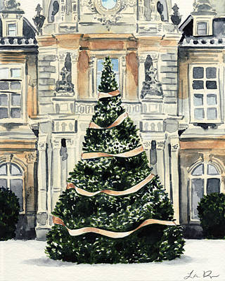 Louvre Painting - Christmas Tree At Versailles French Chateau Holiday by Laura Row