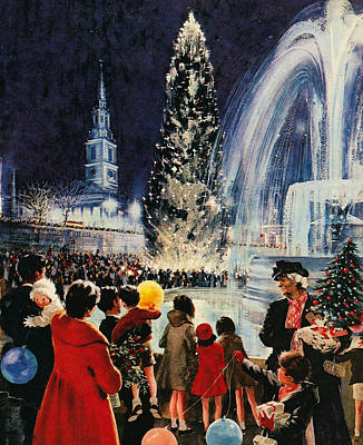 Trafalgar Painting - Christmas Tree In Trafalgar Square, London by English School