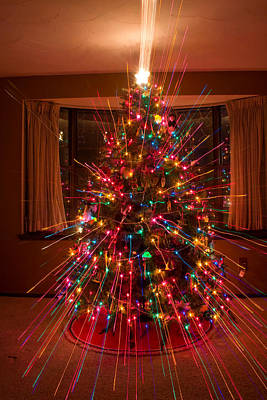 Christmas Tree Light Spikes Colorful Abstract Print by James BO  Insogna