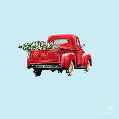 Antique Automobiles Drawing - Christmas Tree Truck- Transparent Background by Sarah Batalka
