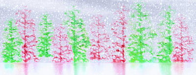 Snowstorm Mixed Media - Christmas Trees In Snow by Steve Ohlsen