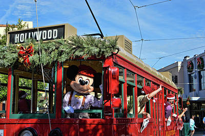 Photograph - Christmas Trolly - California Adventure by Tommy Anderson