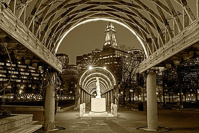 Christopher Columbus Park Boston Ma Trellis Statue Sepia Print by Toby McGuire