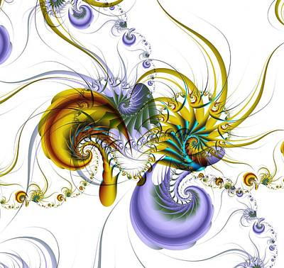 Kaleidoscope Digital Art - Chromatic Shrimp by David April
