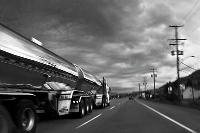 Telephone Poles Photograph - Chrome Tanker by Theresa Tahara