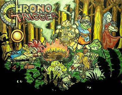 Rpg Drawing - Chrono Trigger Campfire by Paul Tokach