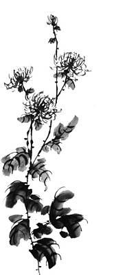Pai Painting - Chrysanthemum3 by Chang  Lee