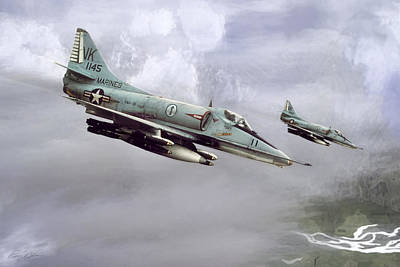 Fighters Digital Art - Chu Lai Skyhawks by Peter Chilelli