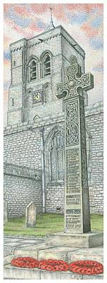 Bell Drawing - Church Clock by Sandra Moore