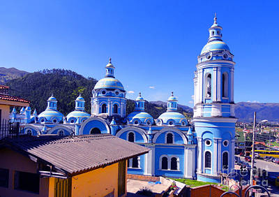 Church In Banos Ecuador Print by Al Bourassa