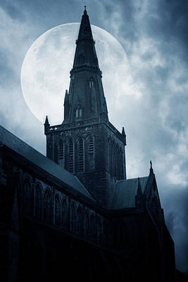 Night Moon Photograph - Glasgow Cathedral by Cambion Art