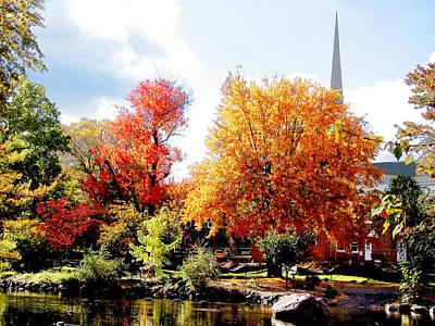 Church Photograph - Church In The Distance In Autumn by Susan Savad