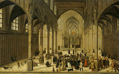 Painting - Church Interior With Christ Preaching To A Congregation by Cornelis van Dalem