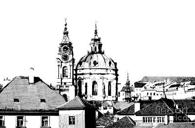Cityspace Drawing - Church Of St Nikolas by Michal Boubin