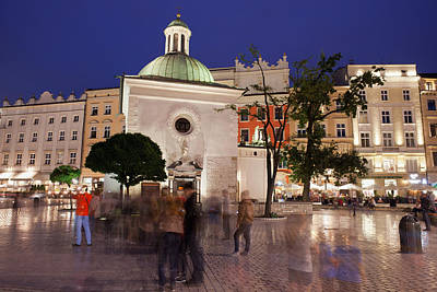 Medieval Temple Photograph - Church Of St. Wojciech In Krakow By Night by Artur Bogacki