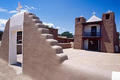 Adobe Church Photograph - Church Of Taos Pueblo New Mexico by George Oze