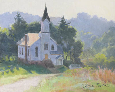 Morning Light Painting - Church On A Hill by Anna Rose Bain