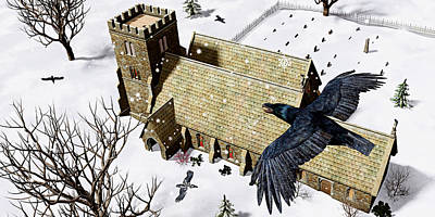 Flying Digital Art - Church Ravens by Peter J Sucy