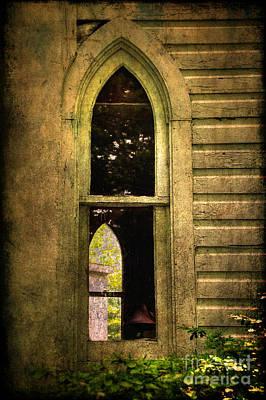 Church Window Church Bell Print by Lois Bryan