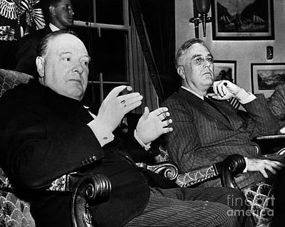 Press Conference Photograph - Churchill & Roosevelt by Granger