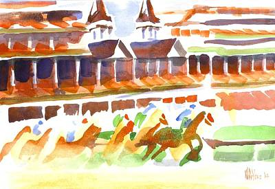 Auburn Painting - Churchill Downs Watercolor by Kip DeVore