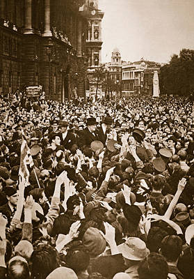 Churchill Mobbed In Whitehall On Ve Day Print by English School
