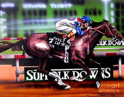 Race Horse Drawing - Cigar by Dave Olsen